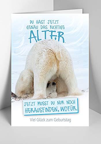 Geburtstagskarte mit Eisbär | Geburtstagskarte lustig | Geburtstagskarte Set mit Umschlag | Glückwunschkarte zum Geburtstag | Karte mit Spruch | DIN B6 176 x 125 mm | Klappkarte