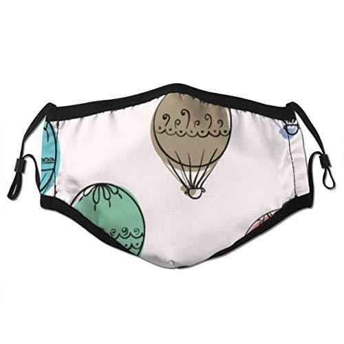 Waschbarer Mundschutz Anti-Staub-Gesichtsschutz,Hand gezeichnete Doodle bunte Luftballons Umrisse,Wiederverwendbar winddicht für Outdoor-Ski Radfahren Camping Laufen
