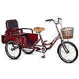Triciclo para adultos 20 Pulgadas De Triciclos Adultos 3 Ruedas Bicicletas De Acero Altas De Carbono Bicicleta Adulta Con Carro Plegable / Asiento, Para Personas Mayores, Mujeres, Hombres(Color:Red)