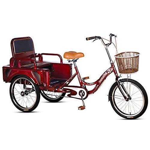 Triciclo per Adulti Triciclo per Adulti 20 Pollici Adulto Maniglia Antiscivolo 3 Biciclette con Carrello Pieghevole/Sedile, Bici da Crociera A Tre Ruote per Anziani, Donne, Uomini(Color:Red)