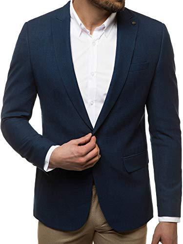 OZONEE Herren Sakko Jackett Anzugjacke Blazer Anzug Jacke Smoking Slim Fit Business Sportlich Sport Langarm Casual Klassisch Classic Modern 777/3932M DUNKELBLAU XS/46
