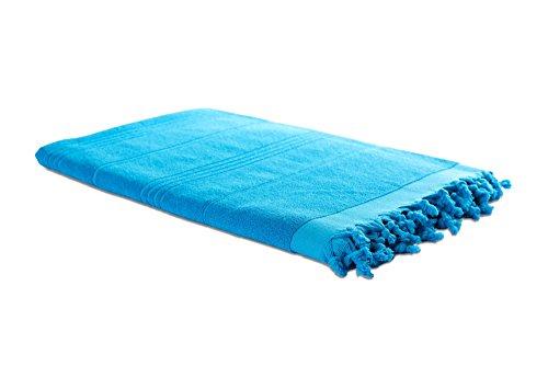Carenesse Hamam-Tuch 2in1 türkis, Handtuch und Hamamtuch in einem, 100% Baumwolle, 90 x 190 cm, Fouta Pestemal, Saunatuch, Strandtuch, Badetuch, Turkish Towel