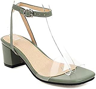 Women's sandals high heels chunky heels spring and summer daily party and evening buckle color block PU Dark red/white/black/orange/green/blue,Green,US11.5 / EU44