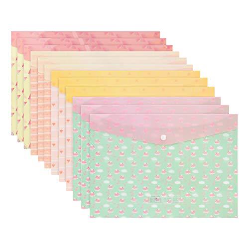 Coofit Carpeta Clasificadora Plastico A4 De La Prenda Impermeable Del PVC De La Carpeta De Archivos De 12PCS