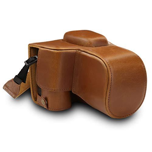 MegaGear MG1537 Nikon D3500 Ever Ready Custodia in ecopelle per Fotocamera con Tracolla - Marrone chiaro