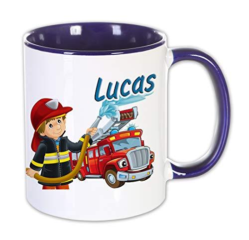 Namenstasse Feuerwehr mit Namen Bedruckt, Geschenkidee Männer Frauen, Kinder, Geburtstag, Weihnachten, Ostern, Tasse, blau, Feuerwehrmann