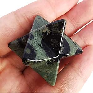 Loveliome Natural Kambaba Jasper Merkaba Crystal Protection Sacred Meditation Energy Generator Healing Chakra Six-Pointed Star 1 Inch
