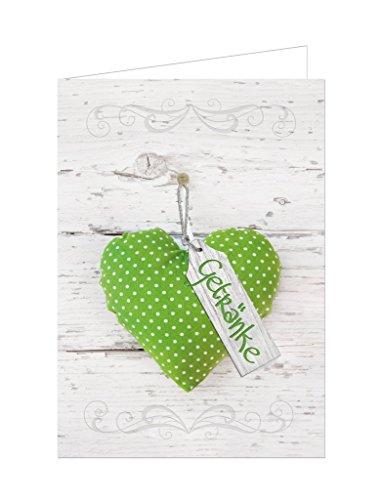 10 Stück hell-grün weiß gepunktetes Herz Getränke-Karten Barkarten Holz-Optik leere...