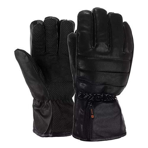 WLGG Guanti da equitazione all'aperto Guanti riscaldati elettrici Mani Scaldino invernale Batteria ricaricabile in pelle per moto da esterno,L
