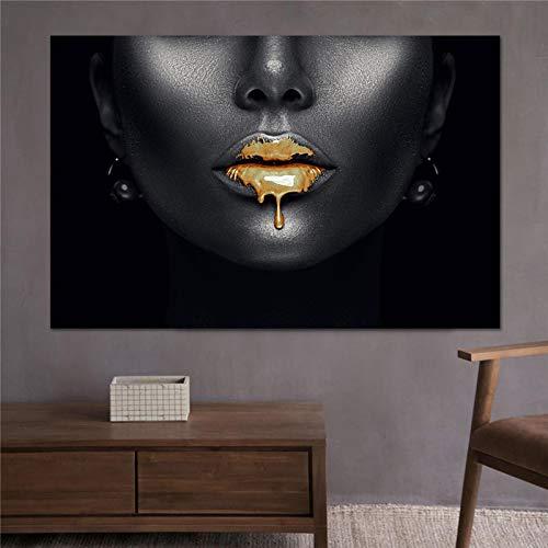 Labio dorado Retrato africano Obra de arte Impresiones en lienzo Arte moderno en la pared Póster Impresiones en lienzo Habitación de impresión Decoración de la pared del hogar (40x80cm) Sin marco