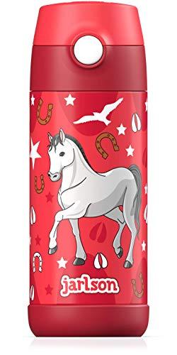 JARLSON® Trinkflasche Kinder / Baby - Thermo Edelstahl Wasserflasche 350ml - BPA frei - auslaufsicher - Kinderflasche mit Strohhalm - Flasche für Schule, Kindergarten (Pferd)