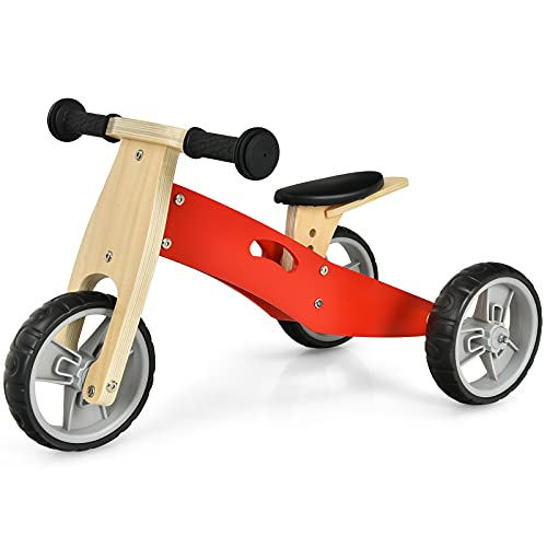 COSTWAY Bici Equilibrio per Bambini, Bicicletta e Triciclo Equilibrio di Legno 2 in 1, con Sedile Regolabile e Ruote Antiscivolo e Antiurto, per Bambini 18 Mesi-3 Anni