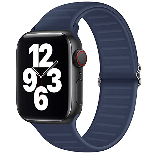 JuQBanke Adjustable Stretchy Silicone Solo Loop Bands Compatible with Apple Watch 42mm 44mm, Soft Sport Elastics Women Men Stretch Strap Compatible with iWatch Series 6/5/4/3/2/1 SE,Midnight Blue