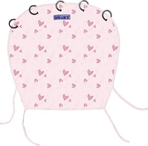 Originele Dooky Universal Cover zonwering, weerbescherming, TÜV-getest, universele pasvorm met klittenband voor babyschalen, kinderwagens en buggy, verschillende Uitvoeringen. Pink Heart roze