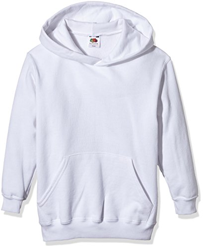Fruit of the Loom Unisex Kids Pull over Classic Hooded Sweat White 12 13 Years Manufacturer Size34