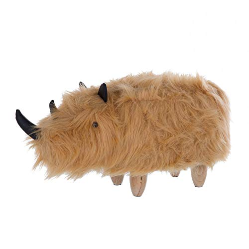Pouf Animaletto Forma Rinoceronte Finta Pelliccia Beige Gambe in Legno Woolly