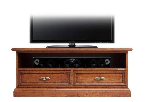 Meuble Tv bas 2 tiroirs en bois pour la barre de son