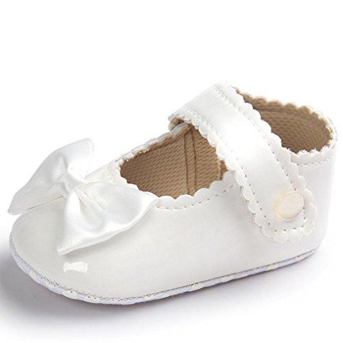kingko® Bébé fille bowknot Chaussures en cuir Sneaker anti-dérapant souple Sole Toddler (6~12 Mois, blanc)