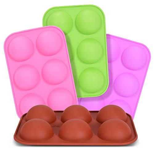 Medium Semi Sphere Silicone Mold, Aralana 4 Packs Baking Mold for Making Dome Mousse, Hot Chocolate Bomb, Pudding, Cake, Jelly, and Truffle Chocolate