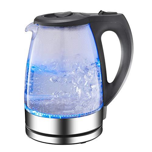 Hervidor Eléctrico De Vidrio Portátil De Acero Inoxidable 1.7L Con Luz Led Azul Y Base De Acero Inoxidable