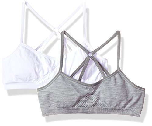 Hanes Big Girl's ComfortFlex Fit Seamless Racerback with Foam 2-Pack Bra, White/Heather Grey, X Large