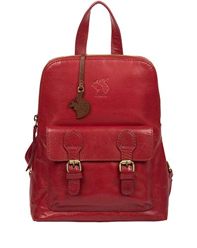 Conkca London Kendal Women's 23cm Biodegradable Leather Backpack with Zip Round Top, 100% Cotton Lining and Adjustable Webbed Canvas Straps in Chilli Pepper B245
