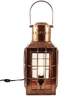"Nautical Lighting Antique Brass Chiefs Oil Lamp -15"" - Electric Lantern - Electric Hurricane Lamps"