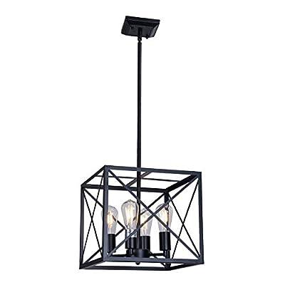 MELUCEE 4-Light Farmhouse Chandelier Black Finish Rustic Light Fixtures Ceiling Hanging Cross Framed Box Lantern Pendant Lighting for Kitchen Island Foyer Dining Room