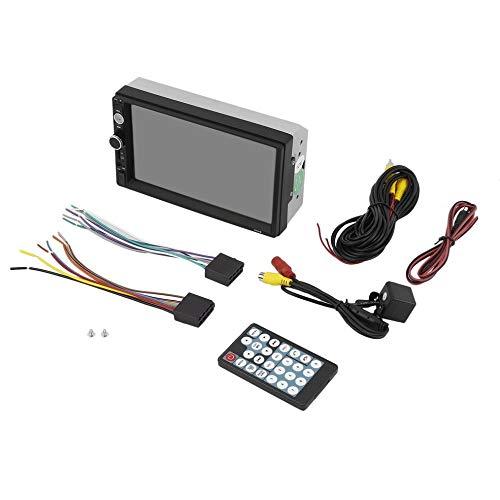 BlackUdragon Reproductor multimedia MP5 de 7 pulgadas para coche, 2 DIN, pantalla táctil, FM, USB, AUX, soporte de cámara de visión trasera, control remoto, kit de coche