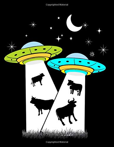 ALIEN IDEAS: UFO Cow Abduction Alien Invasion Wide Ruled Lined Notebooks 110 Black Paper Pages designed to use with Gel Pens | 110 pages 8.5' x 11'