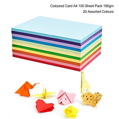 Farbiger Karton, DIN A4, 180 g/m², für mehr Spaß beim Basteln und Dekorieren, zum Skizzieren und Schneiden von Papier, 20 verschiedene Farben, 100 Stück