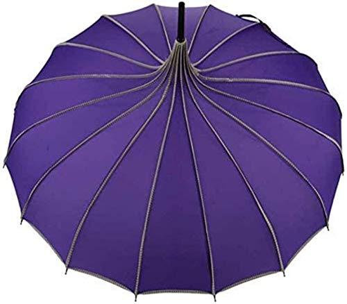 MGEE Paraguas plegable de color sólido con mango recto creativo anti UV, 84 x 87 x 110 cm (color: E)