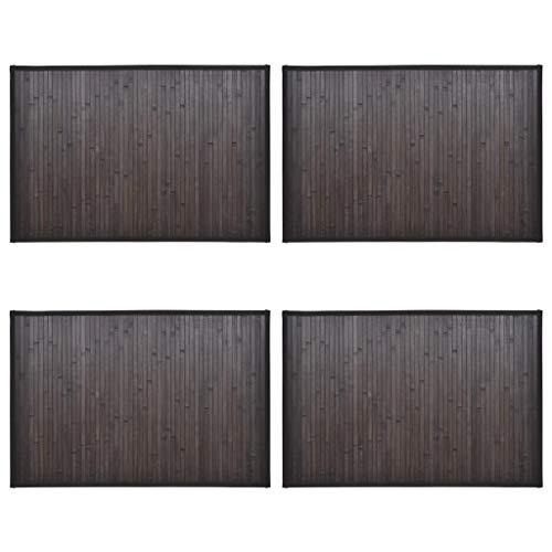 vidaXL 4X Tappetini da Bagno Laccati Igienici Eleganti Antiscivolo Stuoini Zerbini Passatoie 40x50 cm Marrone Scuro in bambù Naturale e Lattice