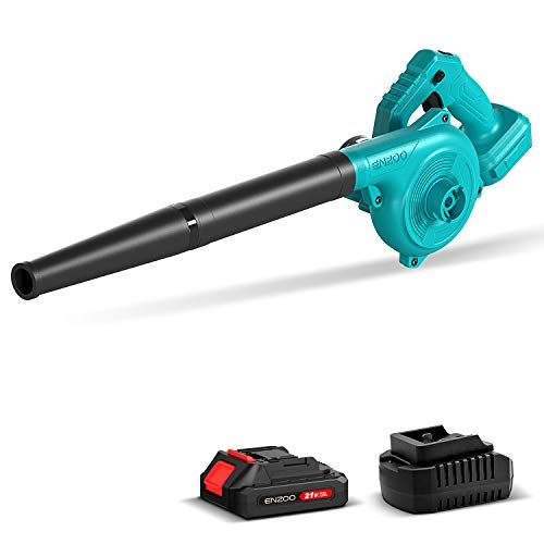 ENZOO Cordless Electric Leaf Blower/Dust Vacuum 2-in-1 Variable Speed MAX 20V Includes 2.0Ah Lithium-Ion Battery and Charger Designed for Light Yard Work and Hard Surface Sweeping (Green)