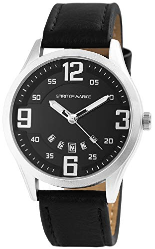 Spirit of Marine - Reloj de pulsera para hombre (analógico, fecha, metal y piel sintética, mecanismo de cuarzo)