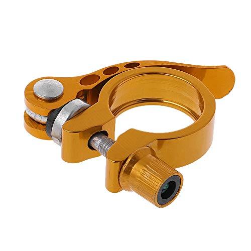 IKAAR Abrazadera para tija de sillín de bicicleta, aleación de aluminio, liberación rápida, abrazadera de 28,6 mm, color dorado