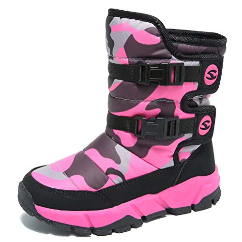 HOBIBEAR Girls Winter Snow Boots Waterproof Outdoor Warm Faux Fur Lined Shoes with Strap (Hot Pink,10 Toddler)