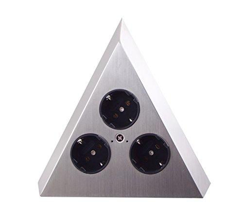 THEBO-Licht Steckdosenelement ST 3007-C in Pyramidenform und 3 Anschlüssen / Ecksteckdosen / Edelstahl-Steckdosenleiste / Steckdosen