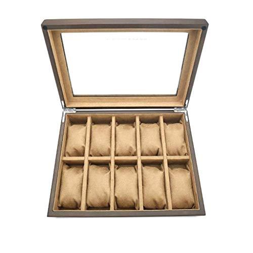 ROSG Watch Box - Glass Slots Watch Jewellery Display Storage Box Case Bracelet Tray Faux Leather