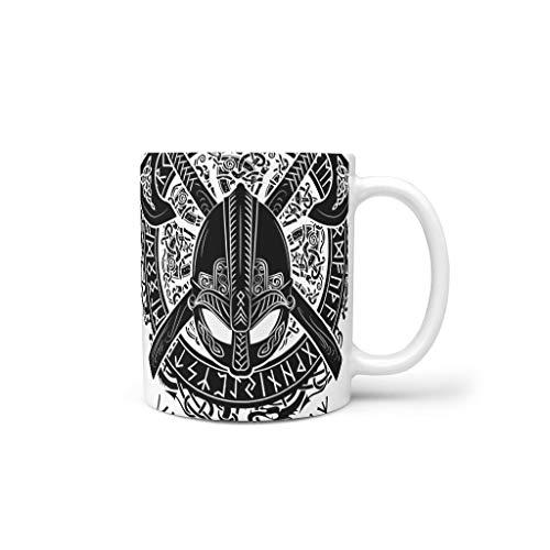 O3XEQ-8 11 oz Viking Tattoo Wasser Müsli Becher mit Griff Keramik Fun Tassen - Jungen Männer Geschenke, Geeignet für Büro verwenden White 330ml