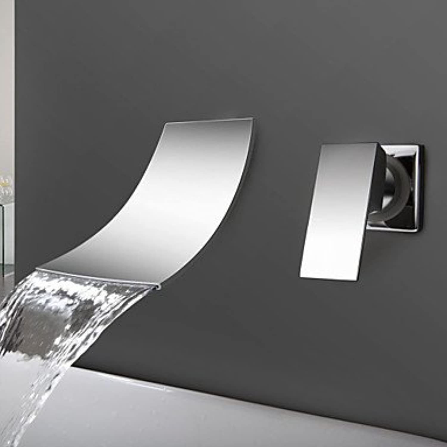 Y&M Faucet£? Contemporary Wall Mounted Waterfall with Ceramic Valve Single Handle Two Holes for Chrome , Bathroom Sink Faucet