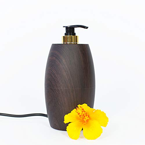 Pacific Spirit PRO MASSAGE – Massageölwärmer Eloise, dunkle Walnuss-Optik I Elektrischer Massageöl-Erwärmer mit Pump-Flasche I Hochwertiges Massage Zubehör zum Massageöl erwärmen …