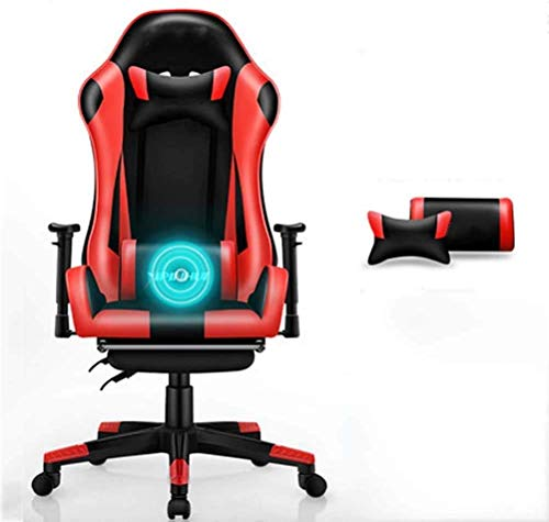 WSDSX Office Chairs Racing Gaming Chair, Ergonomic Office Computer Chair High-Back PU Leather Rolling Swivel Task Chair with Lumbar Support Headrest and Retractible Footrest Massage Chai