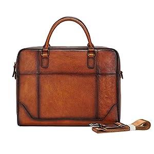 レトロな手作りの第一層牛革ビジネスメンズバッグ、ワンショルダーポータブルソフトレザーブリーフケースコンピューターバッグ,Coffee