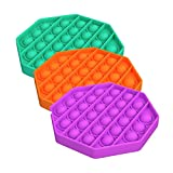 3Pck Push pop Bubble Toy, Sensory Fidget Toy, Autism Special Needs Stress Reliever Silicone Stress Reliever Toy Squeeze Sensory Toy (Octagonal Shape)