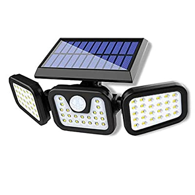 Solhice Solar Security Lights, Solar Powered Lights Outdoor with Motion Sensor, 74 LED Flood Lights Motion Detected, IP65 Waterproof Wall Light for Garden Patio Yard Garage