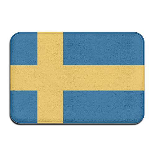 Quafoo Schwedische Flagge Haustürmatte Große Außen Inneneingang Fußmatte Weiß