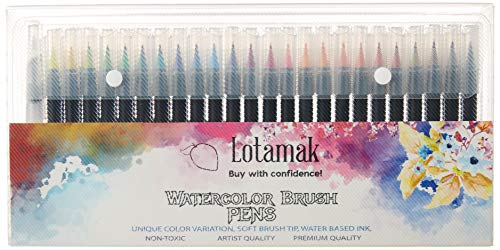 LOTAMAK Real Brush Pens, 48 Colors for Watercolor Painting with Flexible Nylon BrushTips, Paint Markers for Coloring, Calligraphy and Drawing with Water Brush for Artists and Beginner Painters
