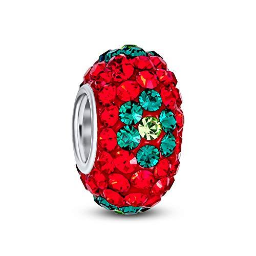 Bling Jewelry Vacaciones De Navidad Rojo Verde Flor Cristal Abalorio Espaciador Core...