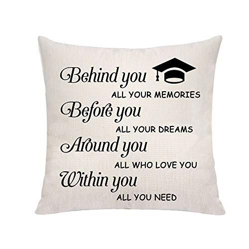 Fundas de cojín inspiradoras para regalo de graduación para hija, hijo, amigas, hermanas detrás de ti todos tus recuerdos, forma cuadrada, fundas de almohada para sofá cama